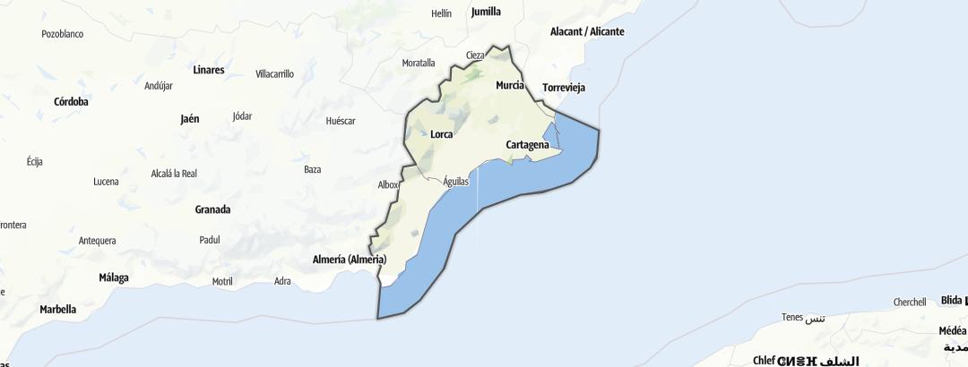 Térkép / Kerékpározás,  Costa Cálida területén