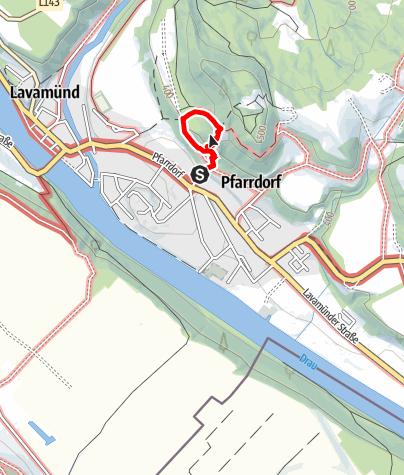 """Karte / Lavamünd: Klettersteig/Klettergarten """"Dreifaltigkeitsfelsen"""""""