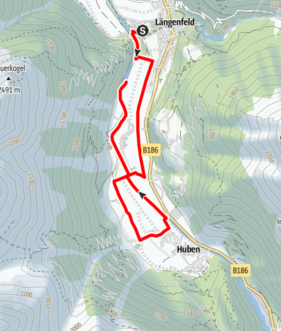 Map / Round hiking trail Längenfeld / Huben - Längenfeld