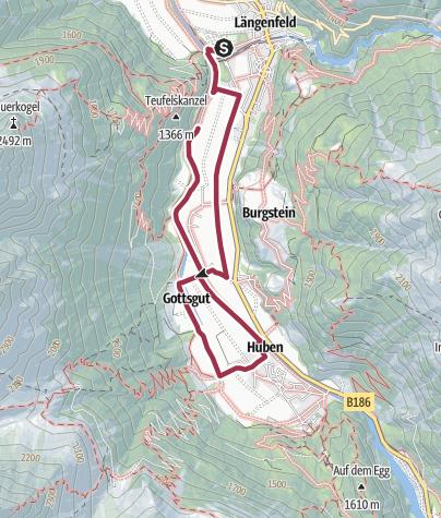 Map / Round hiking trail Längenfeld / Huben - Längenfeld