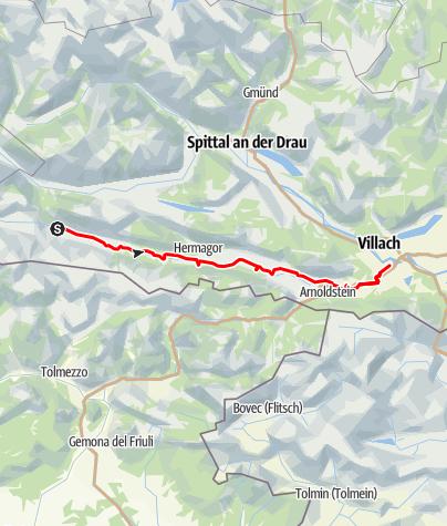 Karte / Gailtal Radweg R3 von Kötschach nach Villach
