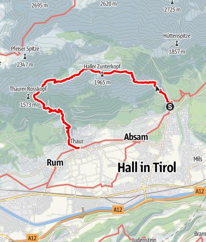 Karte / Über die Zunterköpfe zur Kaisersäule