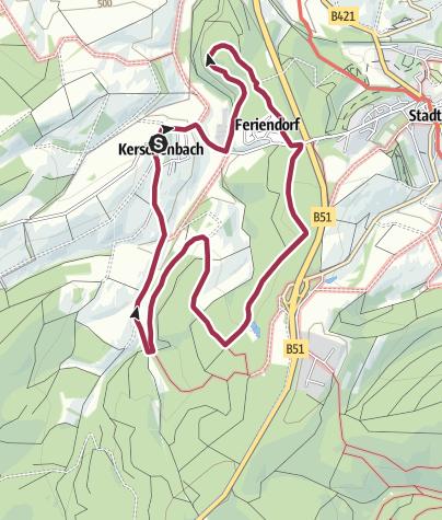 Karte / Wanderweg Kb2 - Rund um Kerschenbach/Vulkaneifel Wald und Wiese