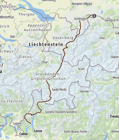 Karte / Transalp Pfronten comersee
