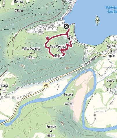 Map / Mala Osojnica (685 m) and Ojstrica (611 m)