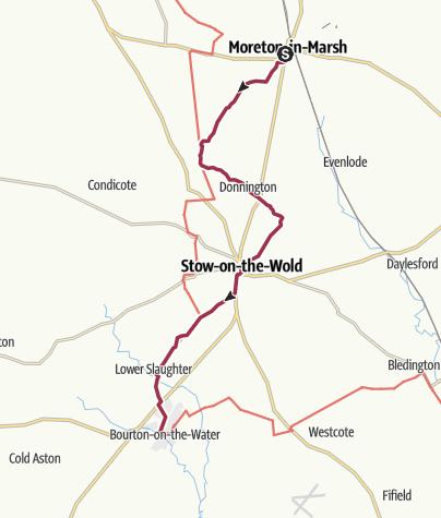 Karte / Wanderung nach Bourton-on-the-Water