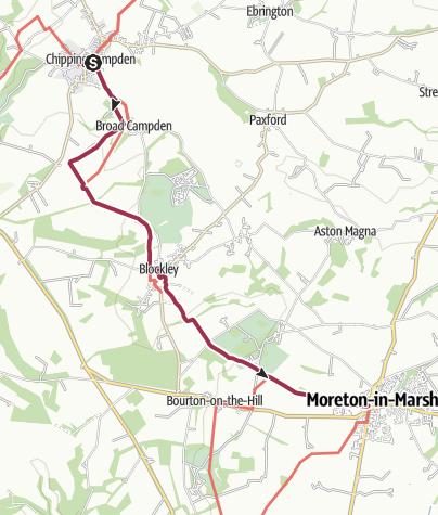 Karte / Wanderung nach Moreton-in-Marsh