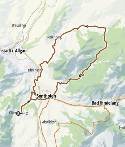 Karte / Radtour von Ofterschwang rund um den Grünten