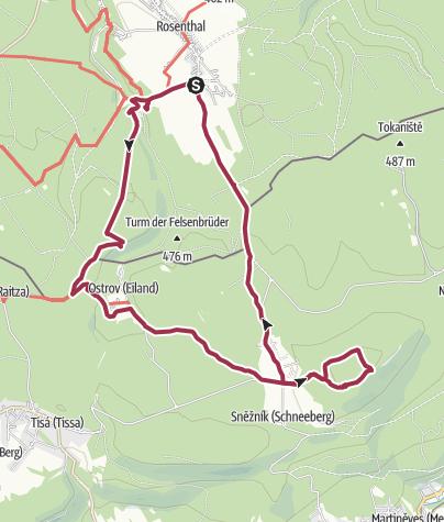 Karte / Von Rosenthal über die Grenzplatte auf den Hohen Schneeberg