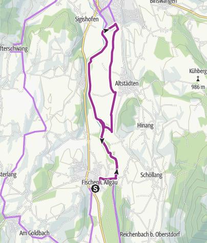 Karte / Radrunde auf dem Illerdamm von Fischen nach Sonthofen