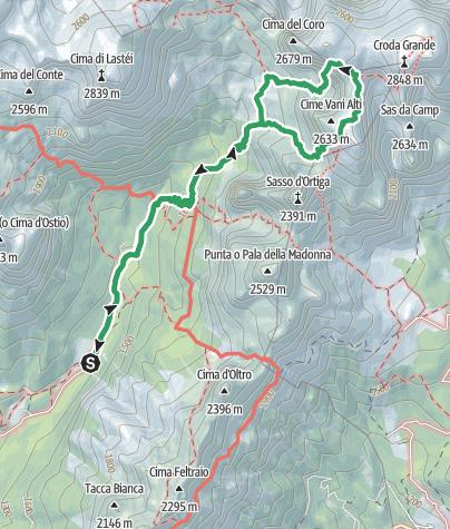 Map / Malga Canali - Rifugio Treviso - Vani Alti - Bivacco Reali - Ferrata Fiamme Gialle