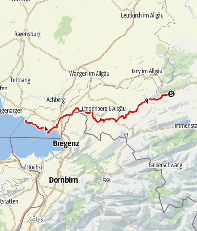 Karte / Jakobusweg - Von Weitnau über Grünenbach nach Lindau, bzw. Nonnenhorn (Variante)