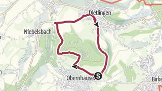Karte / Kesselberg-Runde: Obernhausen - Grenzsägemühle- Dietlingen - Alte Loh