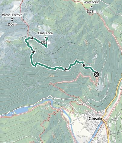 Map / Cima Lancia da Malga Geridolo - Sarodole