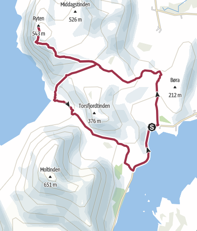 Map / Ryten Summit & Kvalvika Bay Loop Walk