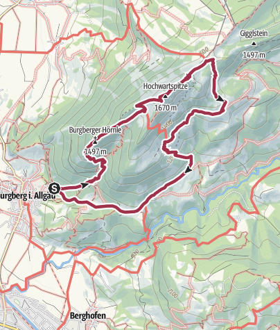 Map / Across the Burgberger Hörnle and the Grünten