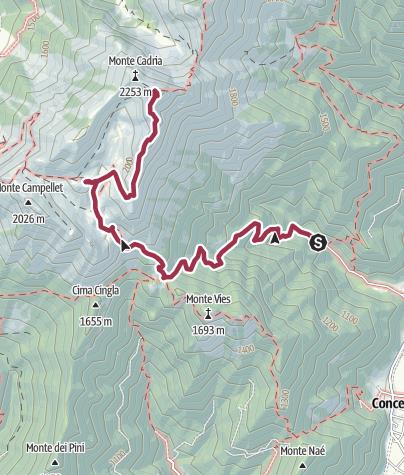 Cartina / Malga Vies – Monte Cadria