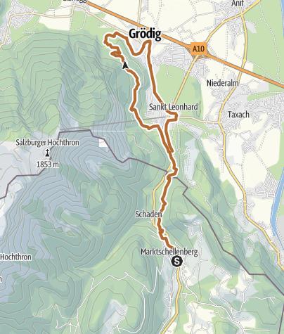 Karte / Nordic Walking Strecke Marktschellenberg Grödig