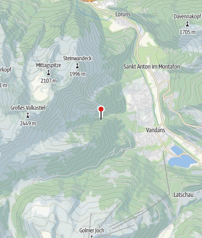 Karte / Vandans, Burgruine Valcastieltobel