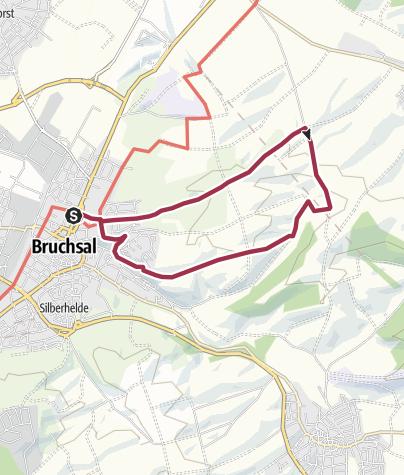 Karte / Hohlwegwanderung ab Bruchsal - Route 2
