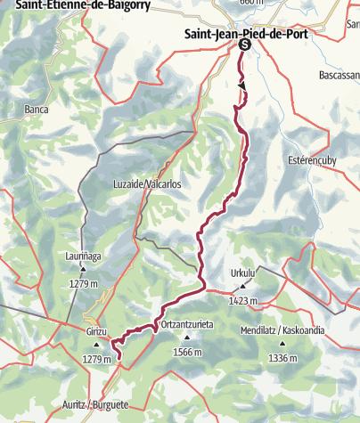 Carte / GR 65 De St-Jean-Pied-de-Port à Roncevaux