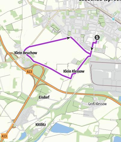 Karte / Joggingstrecke Lübbenau/Spreewald – 7 Kilometer rund um das Spreewelten-Hotel