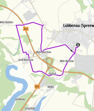 Karte / Joggingstrecke Lübbenau/Spreewald – 15,6 Kilometer rund um das Spreewelten-Hotel
