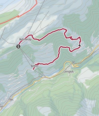 Karte / Wanderung Bettmeralp via Weiden, Martisberg nach Betten Dorf