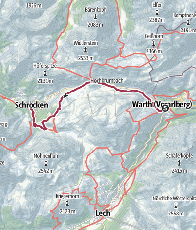 Map / Lech River Trail - Alternative Route:  Warth to Körbersee