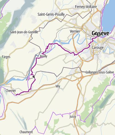 Mapa / ViaRhôna de Genève à Vulbens