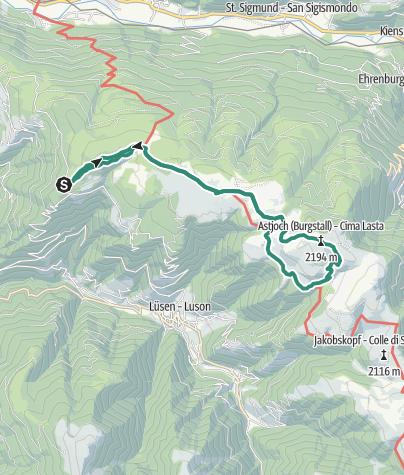 Cartina / Dall'Alpe di Rodengo e Alpe Luson al Giogo d'Asta (Astjoch)