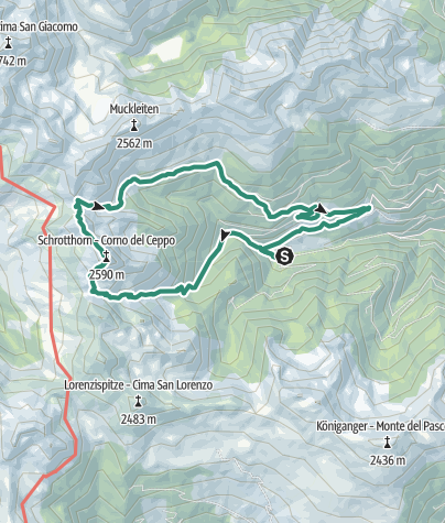 Map / From Schalders to the summit of the Schrotthorn