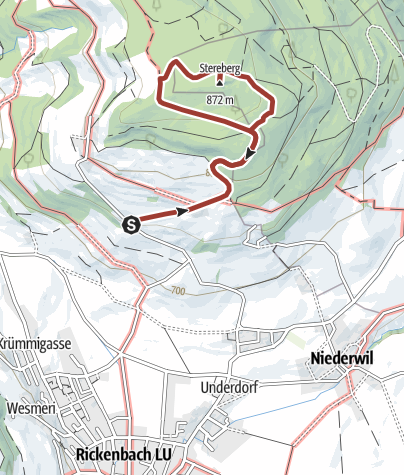 Karte / Rickenbach - Menziken - Pfeffikon, Sagenhafter Stierenberg