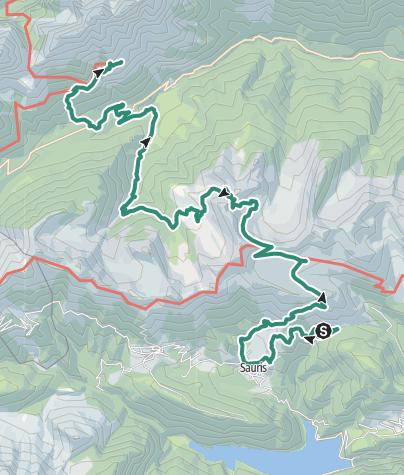 Karte / Etappe 23a -    Sàuris di sotto-Rif. de Gasperi