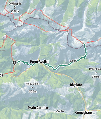 Karte / Etappe 23d - Rif. Piani del Cristo-Wolayersee Hütte