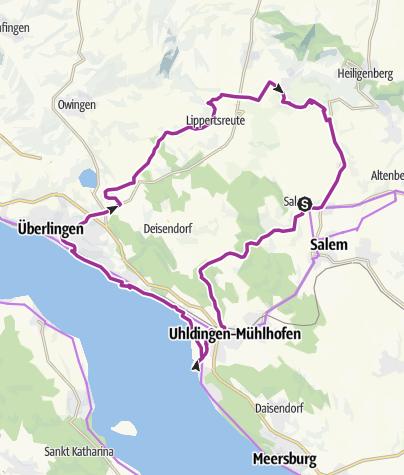 Karte / Erlebnisweg: Wasser, Wein, Barock / Vom Überlinger See ins Salemer Tal