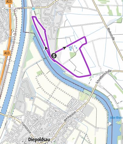 Map / Jogging tour Alter Rhein