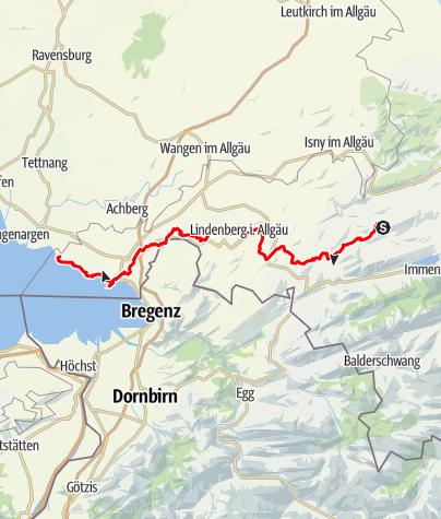 Karte / Jakobusweg - Von Missen über Lindenberg nach Lindau, bzw. Nonnenhorn (Variante)