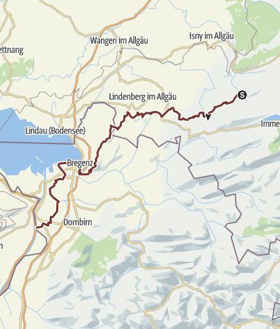 Karte / Jakobusweg von Missen über Scheidegg und den Pfänderrücken nach Bregenz (Variante)