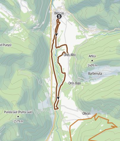 Mapa / Espacio MTB Pirineos - Alto Gallego. Vuelta a Las Oroses