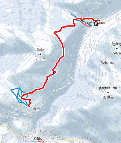 Map / Winterwanderweg: St. Antönier Panoramaroute