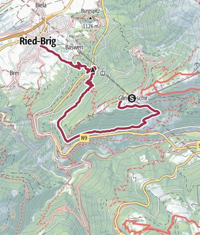 Karte / Rosswald - Glimmuschir - Stückiegga - Megi - Ried-Brig