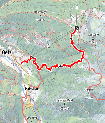 Map / Hochoetz down to Oetz