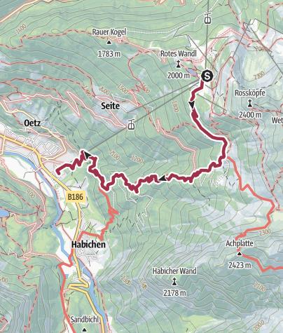 Map / Hochoetz down to Oetz