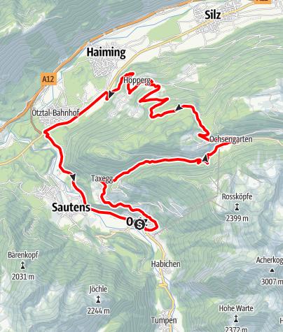 Karte / Rennradrunde Oetz - Sattele - Oetz