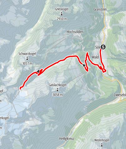 Karte / Rennradtour ins ewige Eis Sölden - Rettenbach Gletscher