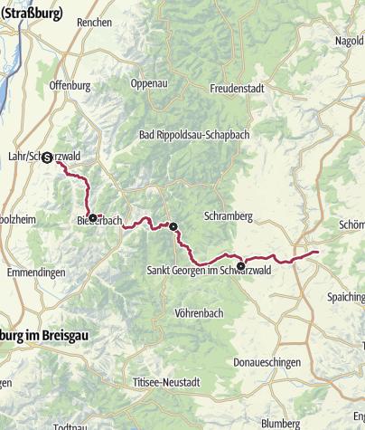 Karte / Querweg Lahr - Rottweil