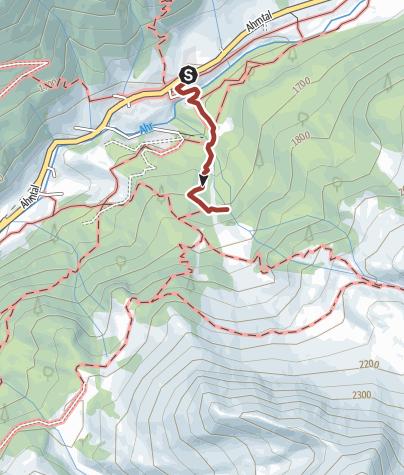 Map / Hiking tour to the waterfall Rötbach