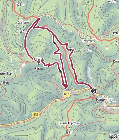 Karte / Bad Dürkheim - Sagenhafte Schätze der Leininger und einer der höchsten Gipfel des Pfälzerwaldes