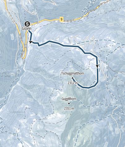 Karte / Skitour ab Gabi auf das Tschuggmatthorn (2310 m.ü.M.)